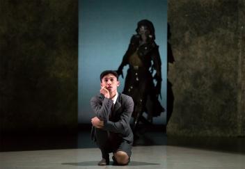Matthew Koon as Bruno and Mlindi Kulashe as The Fury in The Boy in the Striped Pyjamas. Photo Emma Kauldhar